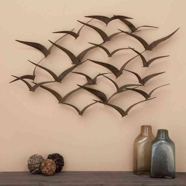 Litton Lane 47 in. X 26 in. Brown Iron Flying Birds Wall Decor.