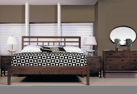 Durham Furniture Soma asiatisk sovrumsuppsättning med lågpanel.