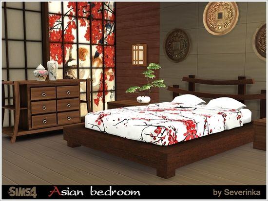 Uppsättning av sovrumsmöbler i asiatisk stil.  Denna uppsättning kommer att vara en.