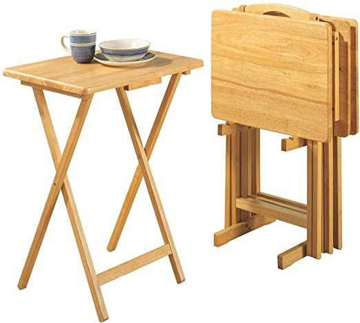 Amazon.com: PJ Wood Folding TV Tray Table & Snack Table with.