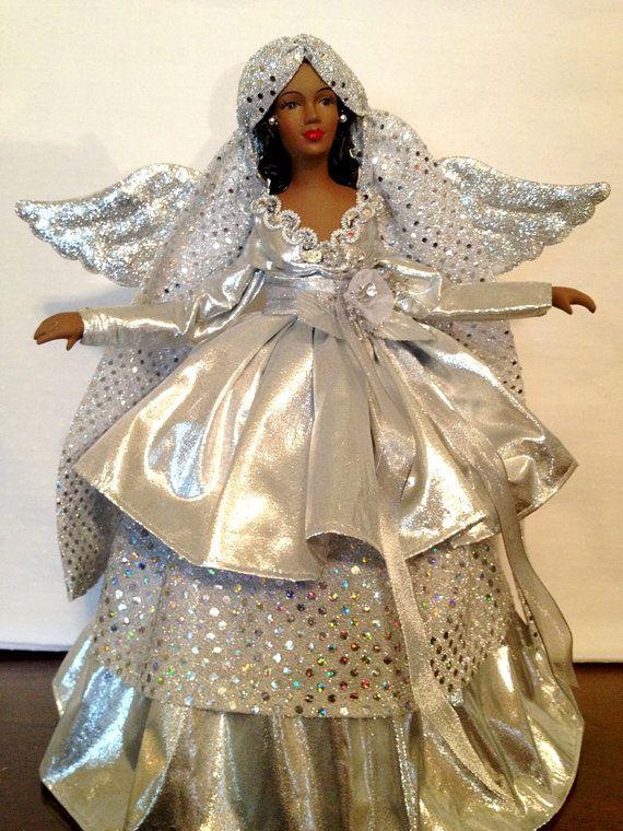 Silver Christmas Angel Tree Top African av Divineangelshop på Etsy.