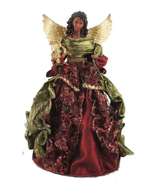 African American Angel Tree Topper - rödbrun spets - It's A Black.