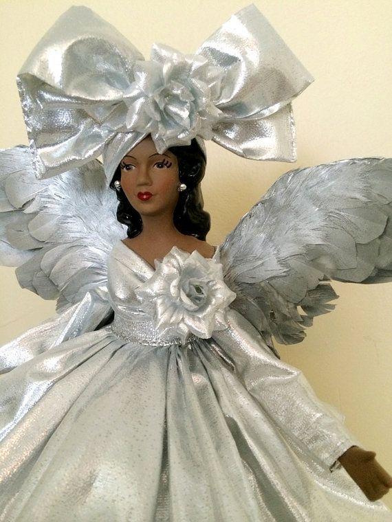 Silver Christmas Angel Tree Topper African American OOAK Black.
