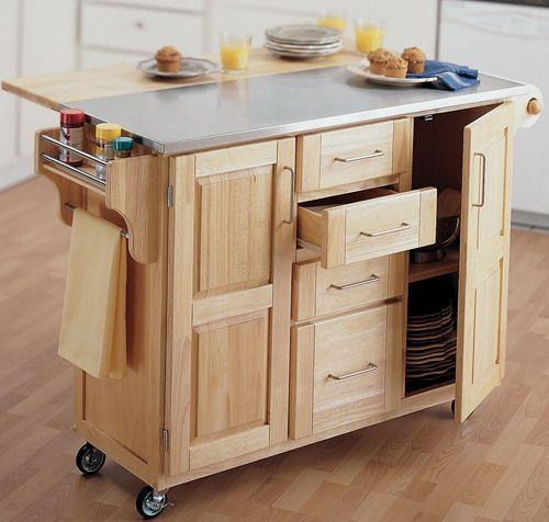 Unfinish Wood Kitchen Utility Cart Bildinredning.