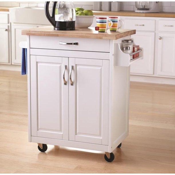 Stödpinnar Kitchen Island Cart med låda och förvaringshyllor.