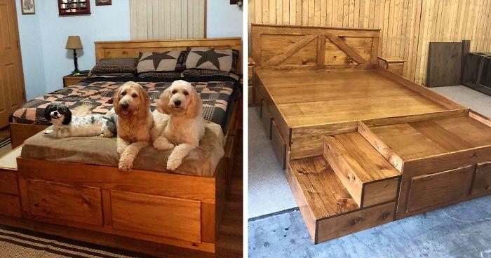 Detta företag tillverkar anpassade träsängramar med inbyggda sängar för husdjur.