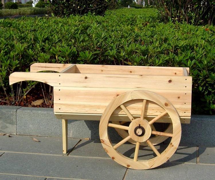 Trä skottkärra planteringsmaskin |  Dekorativ display Ca