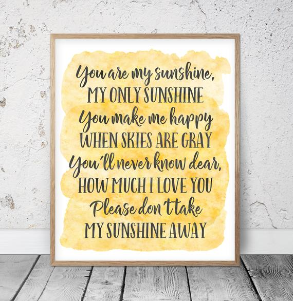 You Are My Sunshine Wall Art Kids Room Decor Yellow Nursery |  Et