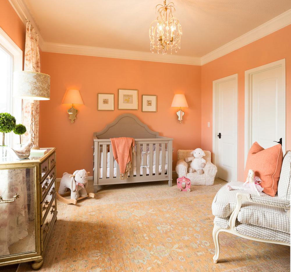 Nursery-by-McCroskey-Interiors Använd persikafärgen för att dekorera fantastiska interiörer