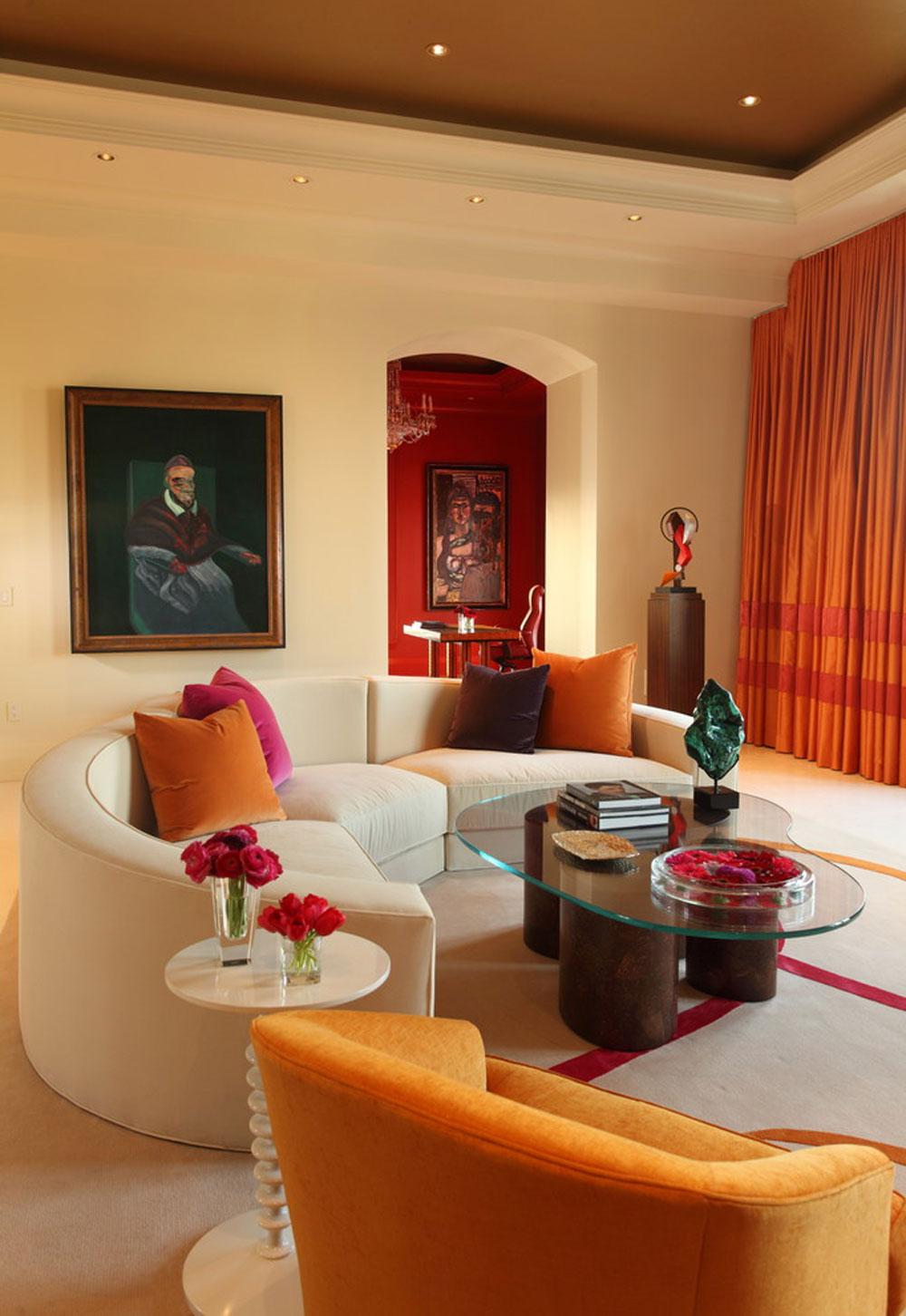 Modern vardagsrumsdesign använder persikafärgen för att dekorera fantastiska interiörer