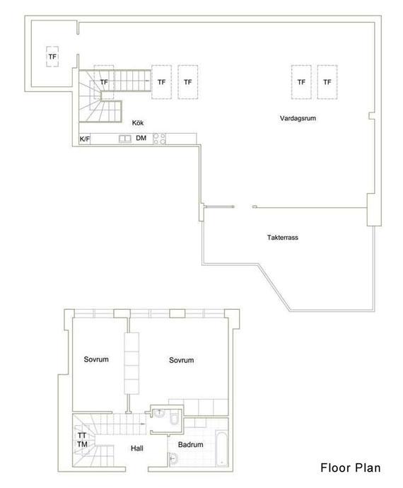 s11 Trevlig lägenhet i Stockholm på översta våningen i en gammal byggnad