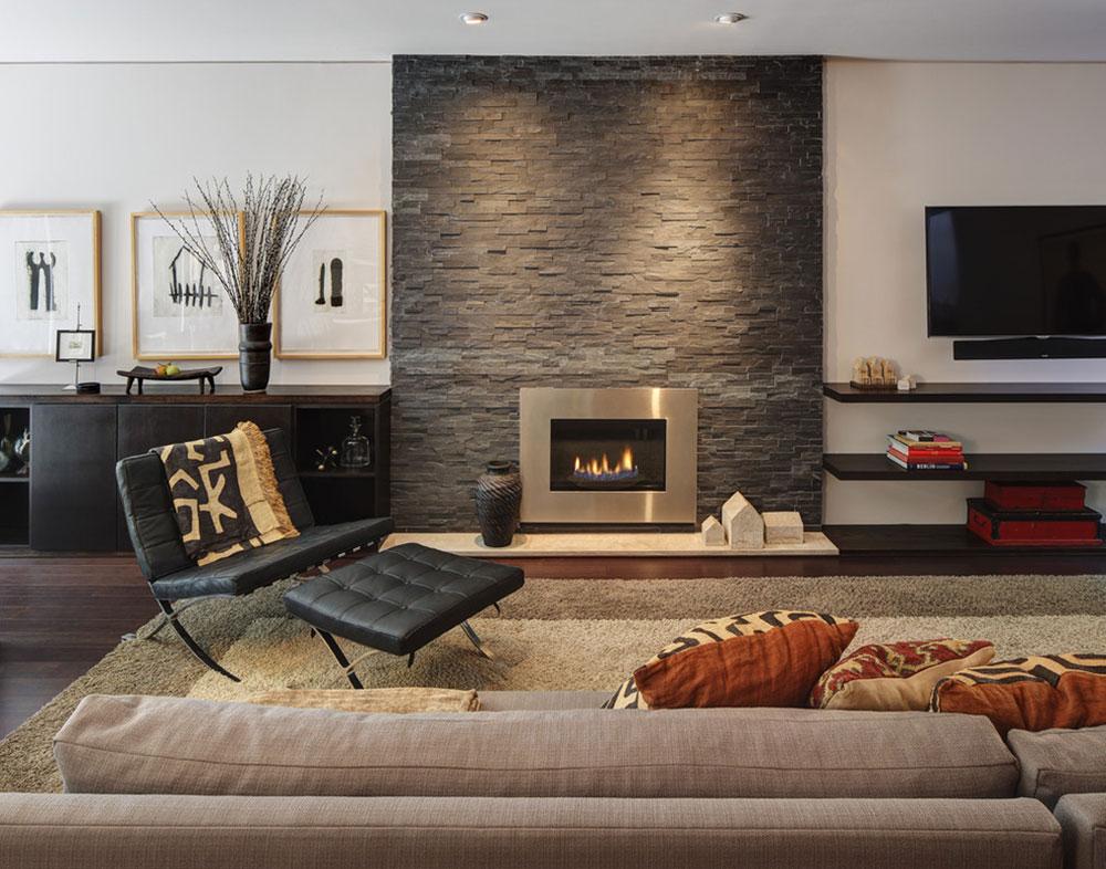 Midvale-Courtyard-House-by-Bruns-Architektur Ett vardagsrum med öppen spis och dekorinstruktioner