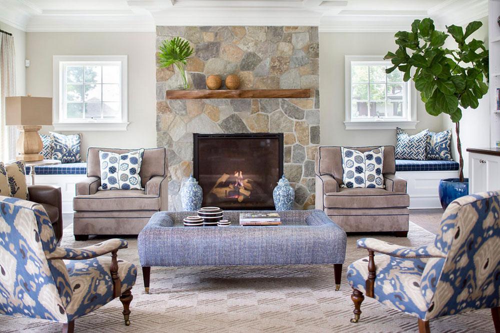 Rye-Transitional-Home-by-Lorraine-Levinson-Interior-Design Ett vardagsrum med öppen spis och dekorinstruktioner