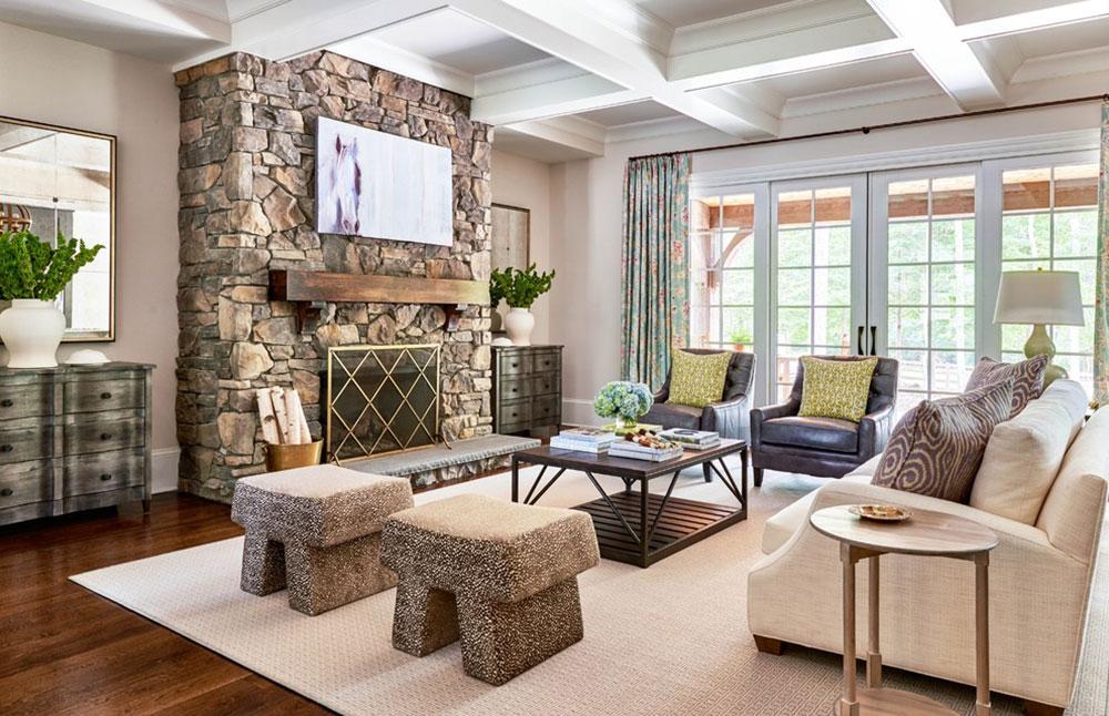 Greener-Pastures-by-Home-Design-Decor-Magazine Ett vardagsrum med öppen spis och instruktioner för dekorering
