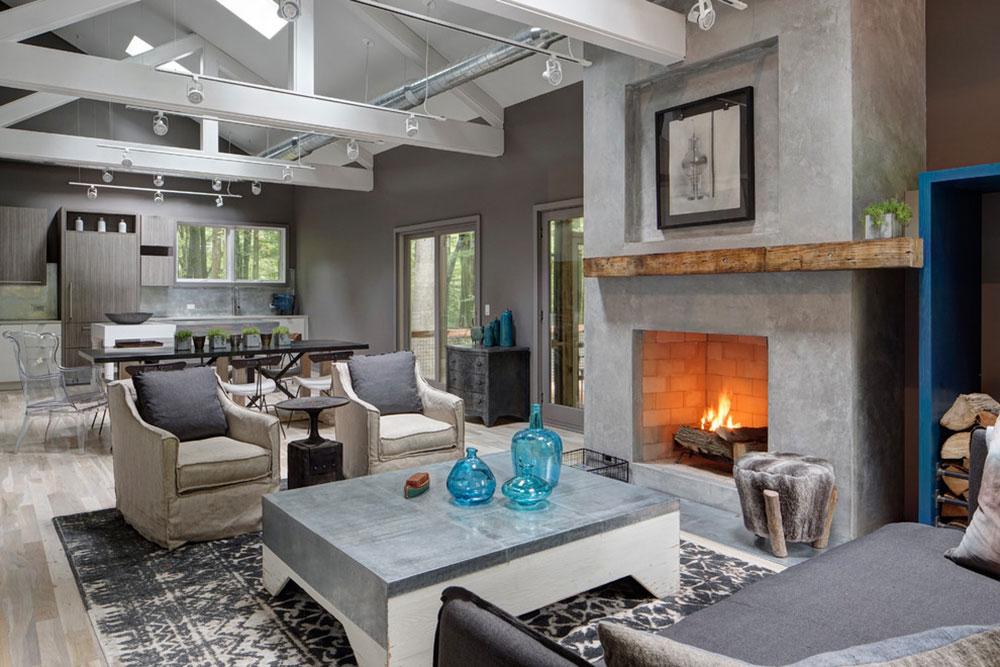 Living-by-Fredman-Design-Group Ett vardagsrum med öppen spis och dekorationsinstruktioner