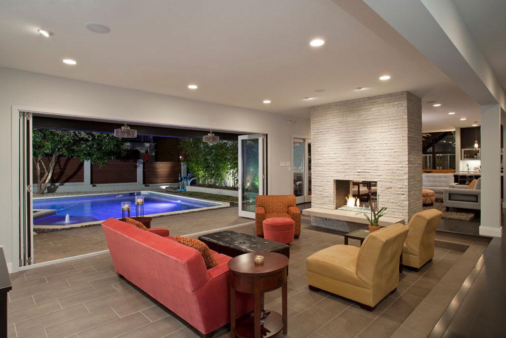 Contemporary-Tarrytown-Renovation-by-Rick-O-Donnell-Architect Har ett vardagsrum med öppen spis och en guide till dekorering