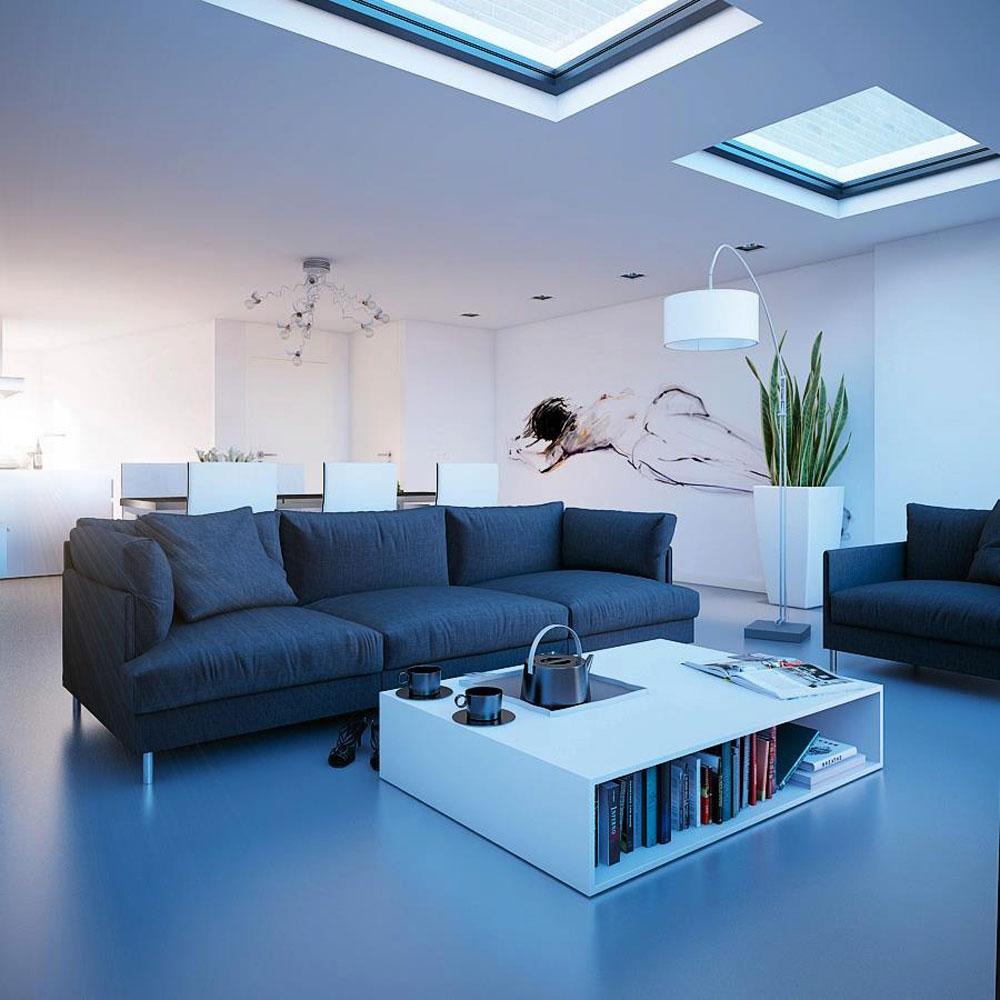 Vardagsrum med takfönster som ger naturligt ljus 9 vardagsrum med takfönster som ger naturligt ljus