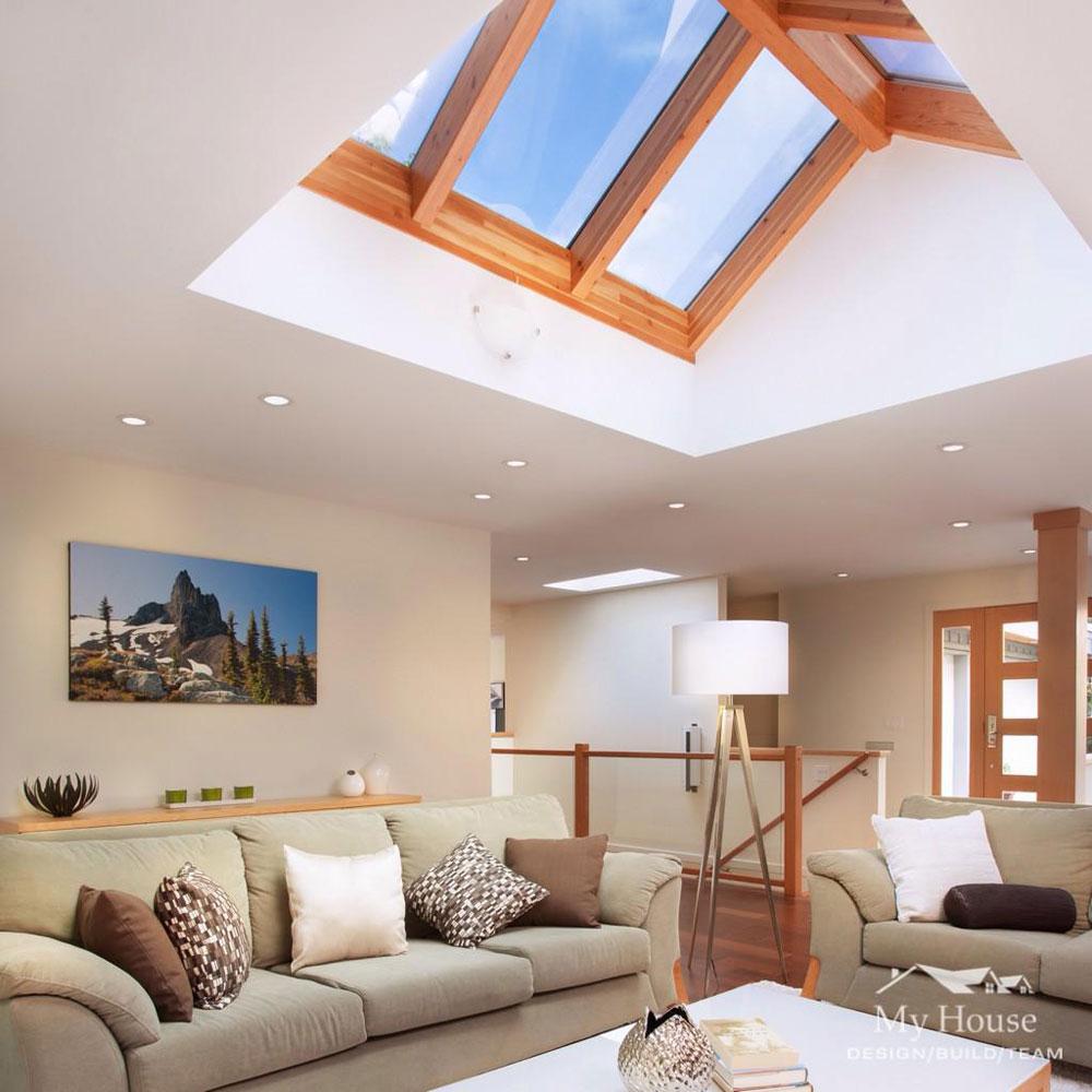 Vardagsrum med takfönster som ger naturligt ljus 2 vardagsrum med takfönster som ger naturligt ljus