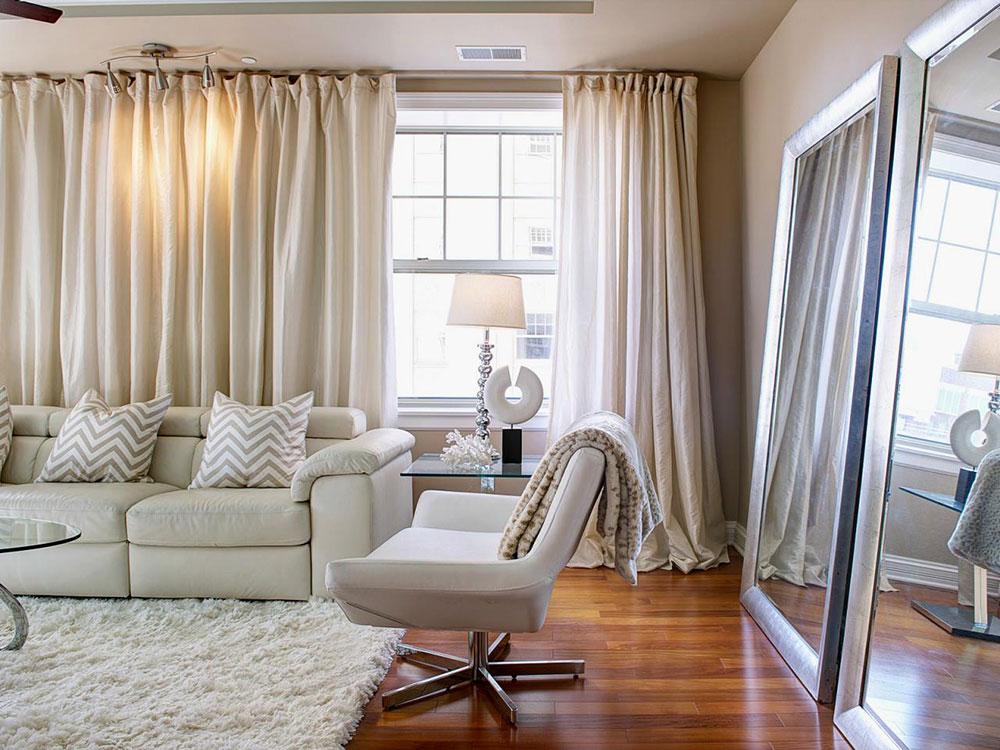 Trevliga långa gardiner-för-vardagsrum-brusreducerande Smart Window-Behandlingar