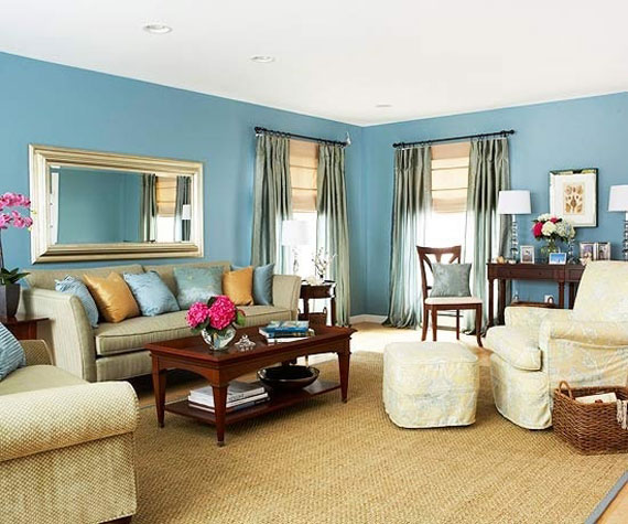 b5 Exempel på vardagsrum inredda i blått