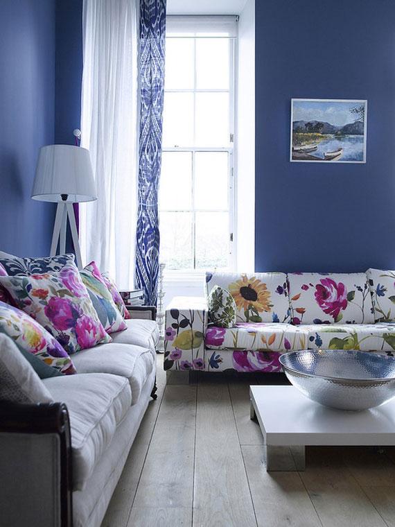 b24 Exempel på vardagsrum dekorerade med blått