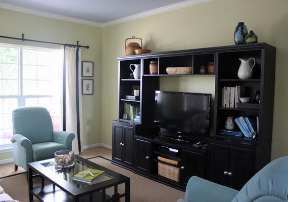 b25 Exempel på vardagsrum dekorerade med blått
