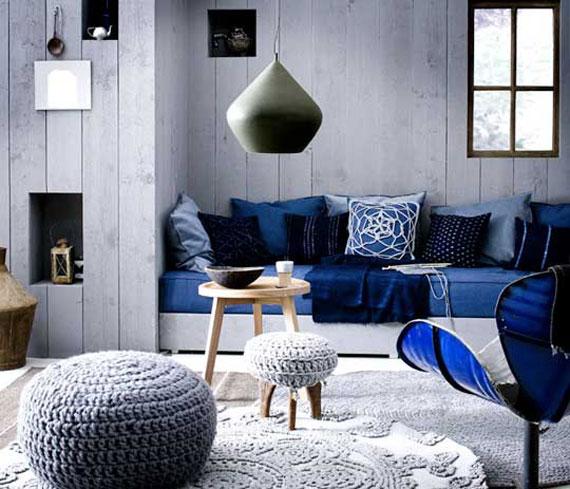b17 Exempel på vardagsrum dekorerade med blått