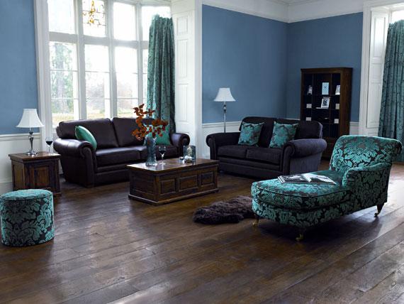 b26 Exempel på vardagsrum inredda i blått