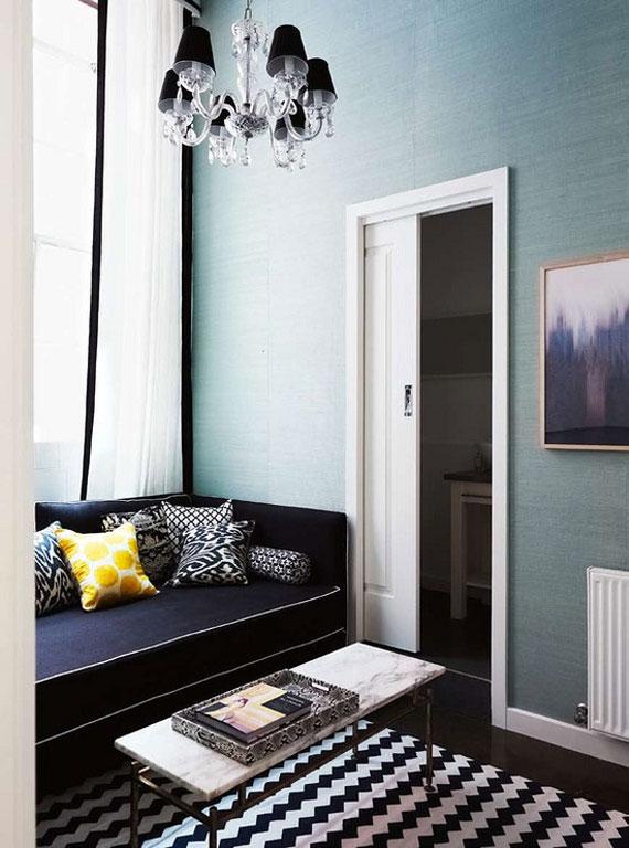b12 Exempel på vardagsrum dekorerade med blått