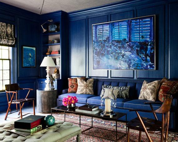 b10 Exempel på vardagsrum dekorerade med blått