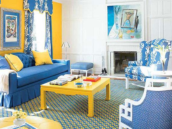 b19 Exempel på vardagsrum inredda i blått