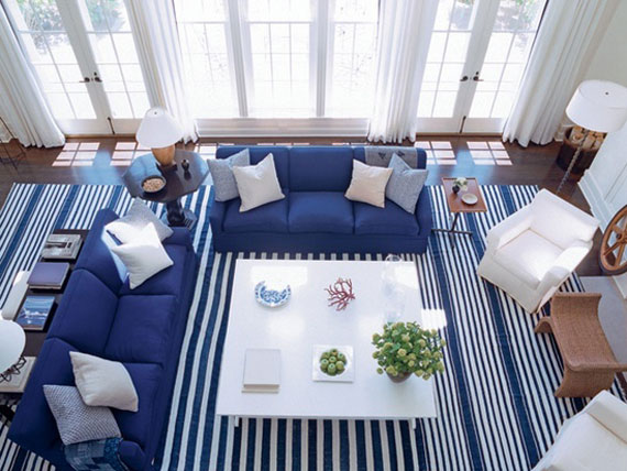 b21 Exempel på vardagsrum inredda i blått