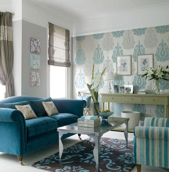b28 Exempel på vardagsrum dekorerade med blått
