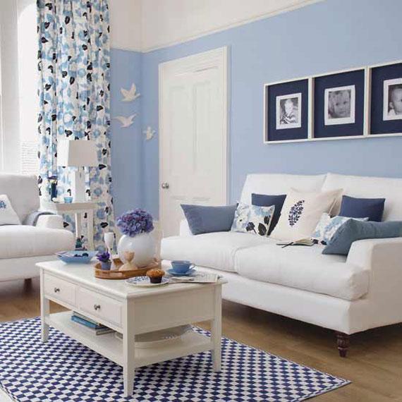 b3 Exempel på vardagsrum inredda i blått