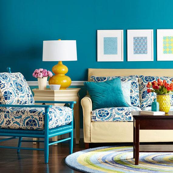 b34 Exempel på vardagsrum inredda i blått
