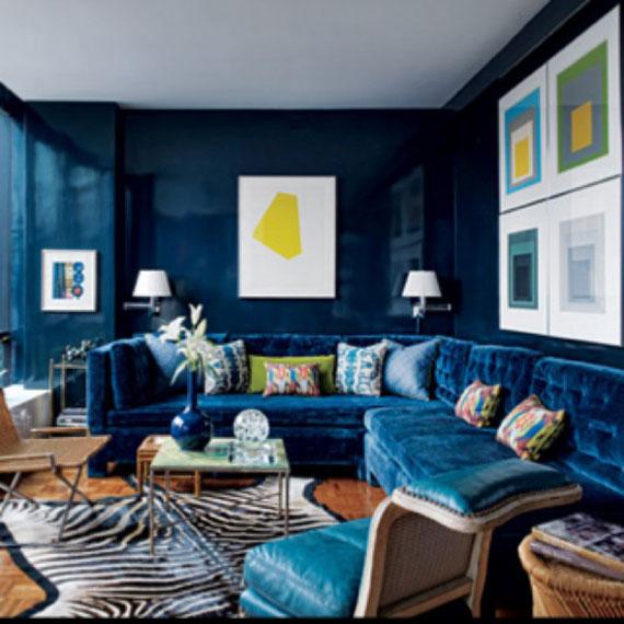b32 Exempel på vardagsrum inredda i blått
