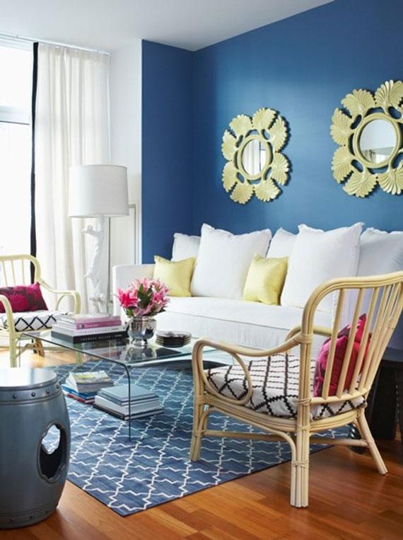 b30 Exempel på vardagsrum inredda i blått