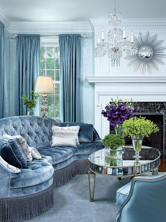 b2 Exempel på vardagsrum dekorerade med blått