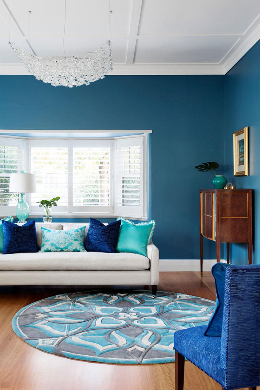Blues-in-Kew-vardagsrum-av-Camilla-Molders-Design Vattenfärgen: Hur man dekorerar ditt husinteriör med det