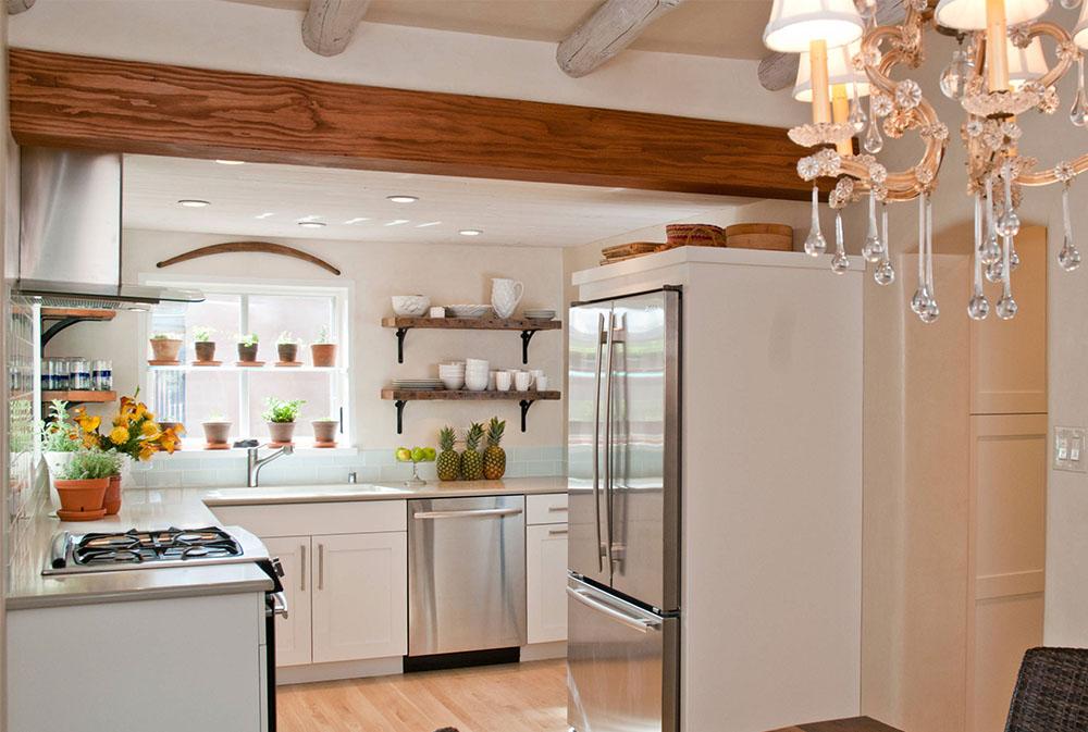 Southwestern-Contemporary-Cottage-in-Historic-Santa-Fe-by-Samuel-Design-Group Kitchen Shelves: Idéer för flytande, utdragbara, väggmonterade hyllor