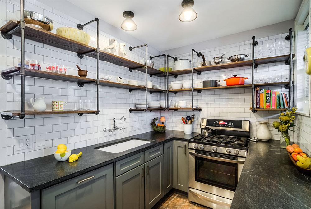 Vintage-Galley-by-PowerSmith-Design kökshyllor: Idéer för flytande, utdragbara och väggmonterade hyllor