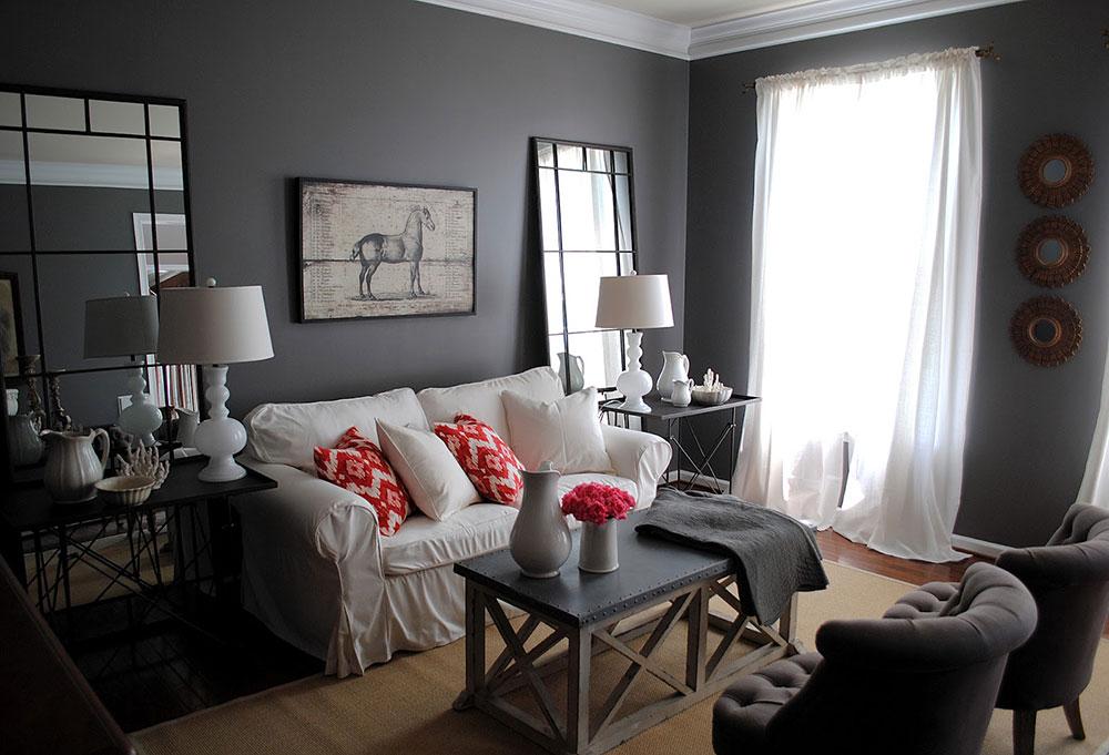 grå vardagsrum hem målning idéer för hösten