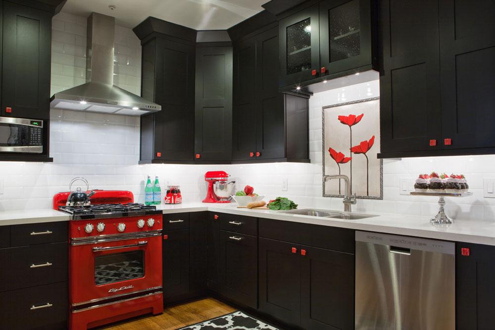 Red-Kitchen-by-Highland-Design-Galerie Red kitchen design: idéer, väggar och dekor