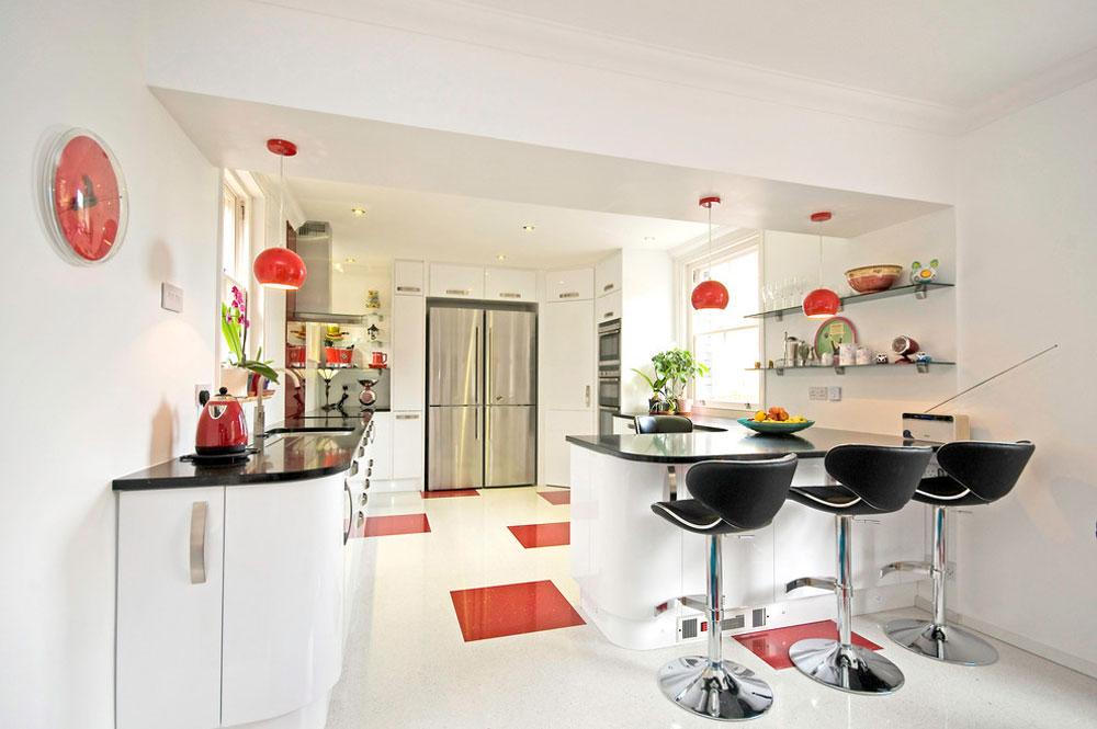 Sittplats vid frukost-vid-rötter-kök-sovrum-badrum Röd köksdesign: idéer, väggar och dekor