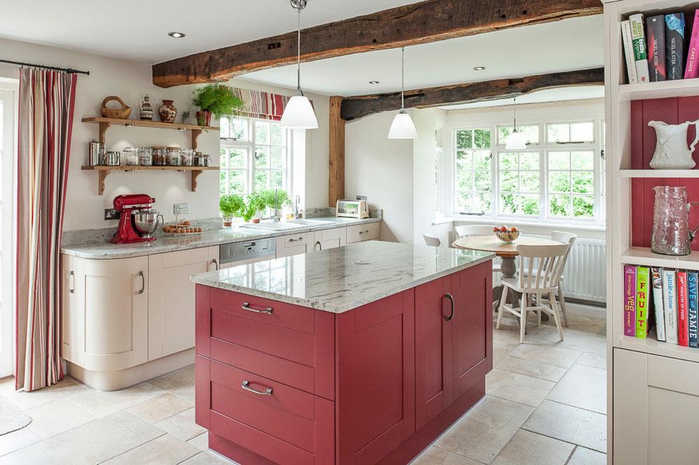Stuga-kök-accentuerat av JM-Interiors Rött köksdesign: idéer, väggar och dekor