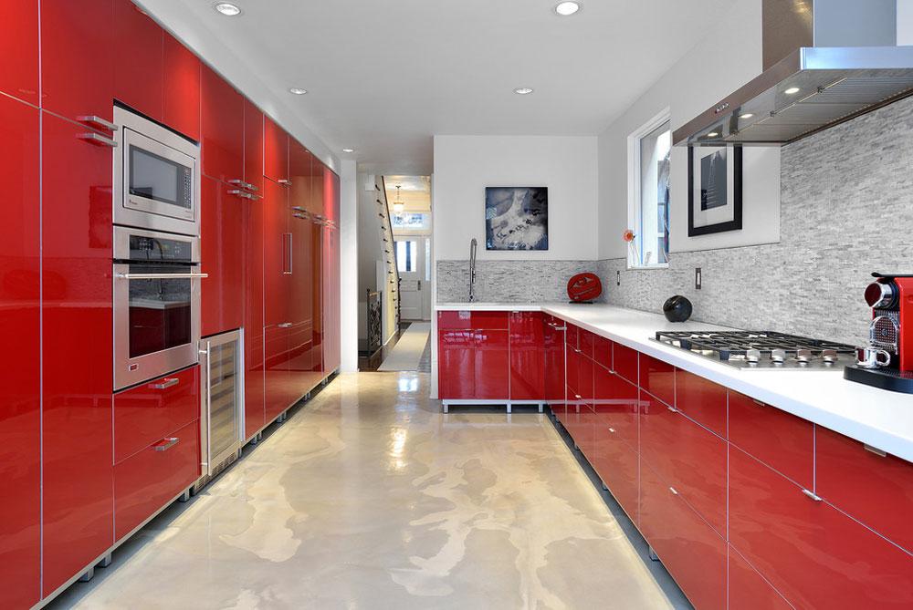 Fastighetsbeställning efter Arnal-fotografi Röd köksdesign: idéer, väggar och dekor