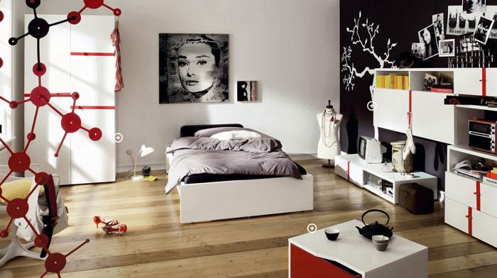 68962270779 idéer för att dekorera ditt sovrum med rött, vitt och svart