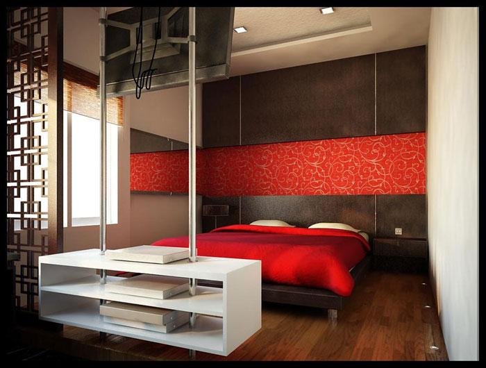 68962324446 idéer för att dekorera ditt sovrum med rött, vitt och svart