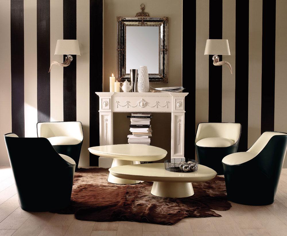 Vackert vardagsrum med randiga väggar-13 Vackert vardagsrum med randiga väggar