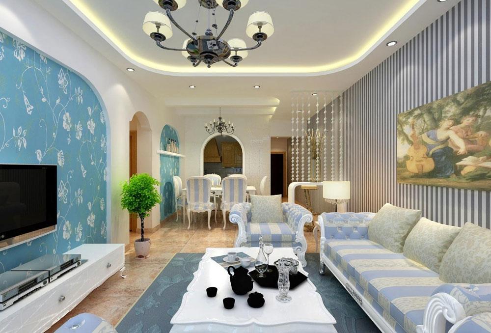 Vackert vardagsrum med randiga väggar-7 Vackert vardagsrum med randiga väggar